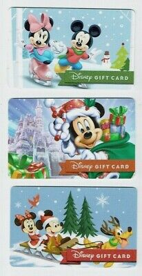 DISNEY Gift Card - Christmas Winter / Mickey Mouse & Minnie - No Value- LOT of 3