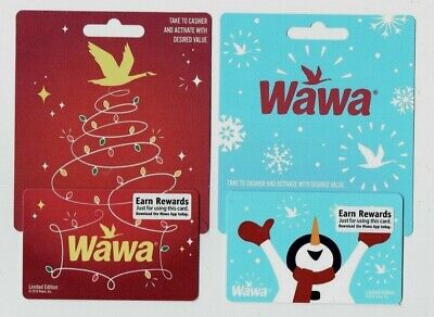 WAWA Gift Cards -Collectible- Christmas / Holiday 2019 - LOT of 2 Diff - Snowman