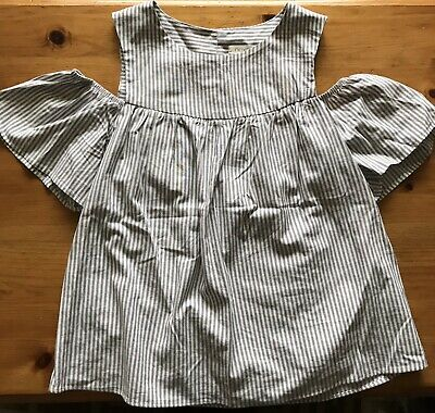 Girls Grey/white Striped Cold Shoulder Top. Age 11 Years. Next Brand