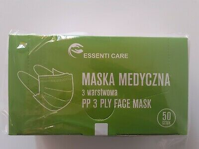 50 pcs Disposable Face Mask Surgical Medical 3 PLY EN 14683 Made in Europe