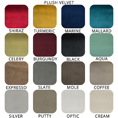 Luxury Plush Velvet Plain - Upholstery & Curtain Fabric Craft (16 Colours)