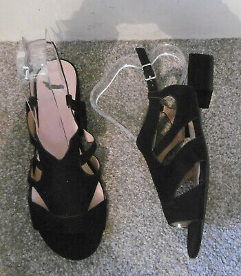 Evans Black NICE Cut Out Flat Sandals Size UK 7 EU 40 EEE Extra Wide Fit