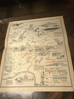 Vintage 1964 NORTH WOODS CLUB Adirondack New York MAP hunting camping