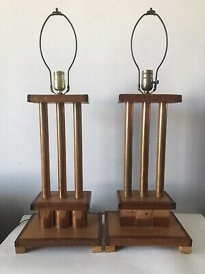 MID CENTURY ART DECO LAMPS - MACHINE AGE MODERN ANTIQUE VINTAGE 1940s 50s