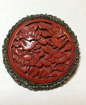 "Fabulous Large 2"" Antique Chinese Export Hand Carved Cinnabar Brooch Birds (BF)"