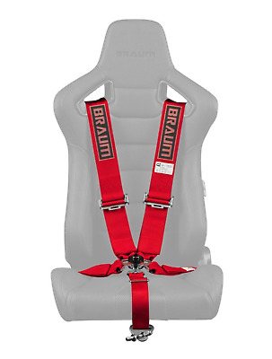 "BRAUM Racing 5 Point 3"" SFI Approved Racing Harness - Red"
