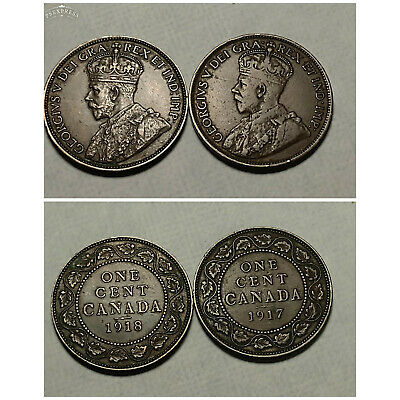 Canada 1917 & 1918 Large Cents (2 Coins) - Free U.S. S/H