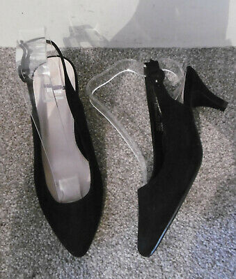 Evans Black FRANKIE Slingback Kitten Heels, Size UK 6 EU 39 EEE Extra Wide Fit