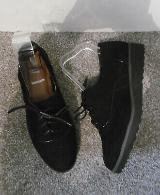 Evans Black ROLO4 Piping Lace Up Brogue Shoes Size UK 5 EU 38 EEE Extra Wide Fit