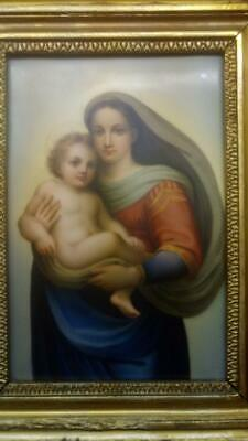 Antique Hand Painted Porcelain Tile Plaque of Jesus and Mary