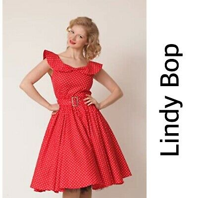Lindy Bop Vintage Retro 50S Candy Red Black Spot Party Swing Dress Sizes 8-26