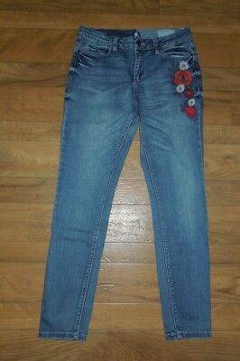 Women's Gypsy Skinny ban jara Floral Embroidery Jean Pants Size 29