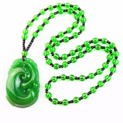 """Carved Green Jade & Green Crystal Ball Pendant Pendant Necklace 17.5"""" S34043"""