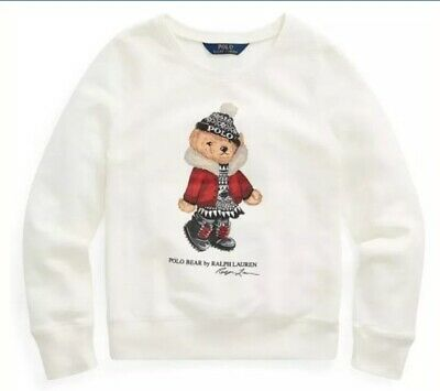 BNWT RALPH LAUREN Girls  Polo Bear Sweatshirt Size 6 years White With bear Motif