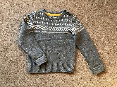 MINI BODEN Boys Grey Lambswool Jumper Sweater Age 4-5 Years Excellent Condition