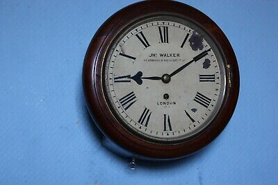 Late 19th Century  English fusee 8 Inch wall clock. Mahogany case, Cast bezel