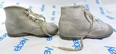 Antique Leather Lace Up Baby Shoes Self Starters White SN