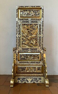 2 of 2 Antique Chinese Gilt Carved Wood Table Screen Straits Peranakan 19th Qing