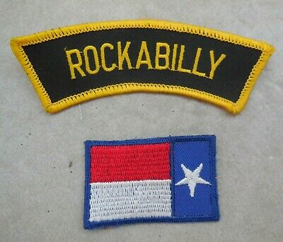 2-teiliges Set Aufnäher Rockabilly + Texas Flagge 50´s 50er Rock´n´Roll Patches