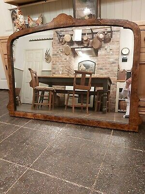 Large Antique Inlaid Burr Walnut Over Mantle Mirror