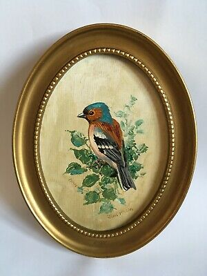 John McClean Oil Painting Chaffinch Bird Oval Small