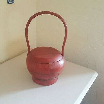 Antique Chinese Wood Red Wedding  Rice Basket