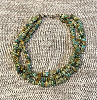 Natural Chinese Turquoise Nugget Bead Multi Strand Southwestern Artisan Necklace