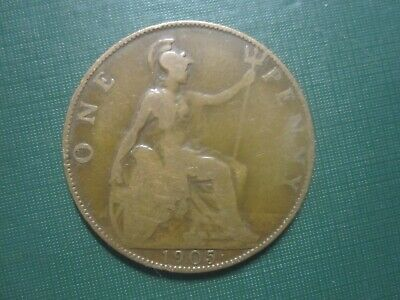 BRITAIN 1905 One Penny Cent Pence King Edward VII Coin LOW SHIP