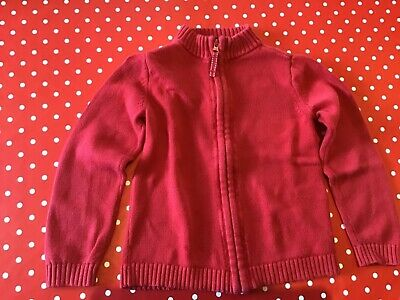 Child's Lands'end Zipped Red Jumper. (US Size 5 - 6years)   110 -122cms.