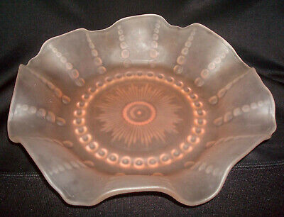 """Vintage 1938 Federal Pink Depression Frosted Satin Glass Columbia 10 ⅞"""" Bowl"""