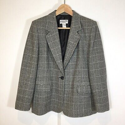 Pendleton Women's 100% Virgin Wool Houndstooth Plaid Jacket Size 8 Petite USA