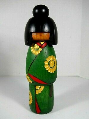 "Vintage Kokeshi By Award Winner Kazuo Takamizawa Japanese Wood Toy Doll 9"" Tall"