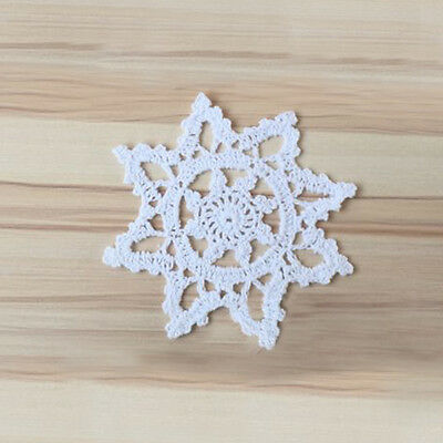 4Pcs/Lot White Vintage Hand Crochet Lace Doilies Snowflake Placemats Wedding 6""