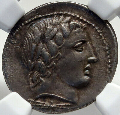 Roman Republic Authentic Ancient 86BC Silver Coin APOLLO CHARIOT NGC i82695