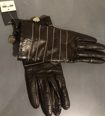 Moschino Made In Italy Women's Gloves Leather Browns Size 6.5 NWT