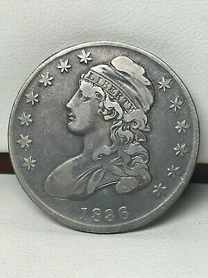 1836 Capped Bust Silver Half Dollar - F/Vf Details - Cleaned !