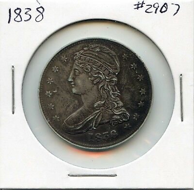 1838 50 Capped Bust Silver Half Dollar. Almost Uncirculated. Lot #2704
