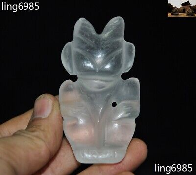 China Hongshan Culture Natural Old Crystal Carved Ox Head Sun god Amulet Pendant