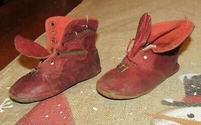 Antique Victorian  Red Leather Baby Toddler Shoes Large Bisque Doll Size
