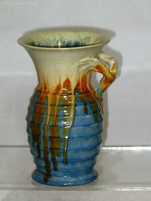 Remued Blue and Orange Vase with Branch Handle Early Series 319/8. Excellent