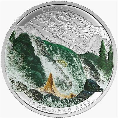 CANADA 20 Dollars 2016 Silver Proof 'Landscape Illusion - Salmon'