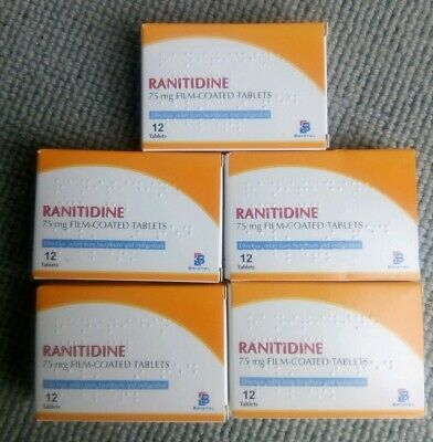 5 x Boxes RANITIDINE 75mg 12 TABLETS per box ACID Reflux Heartburn EXP 05/2020