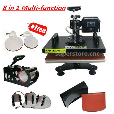 """8 in 1 Heat Press Transfer Machine Sublimation 12""""x15"""" T-Shirts Leather Printing"""