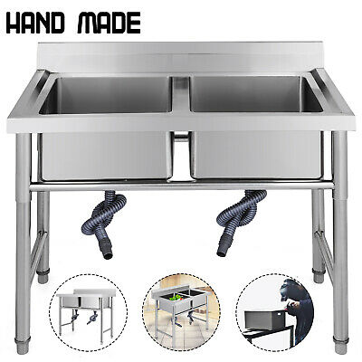 Stainless Steel Commercial Sink Double Bowl Kitchen Catering Prep Table WasteKit