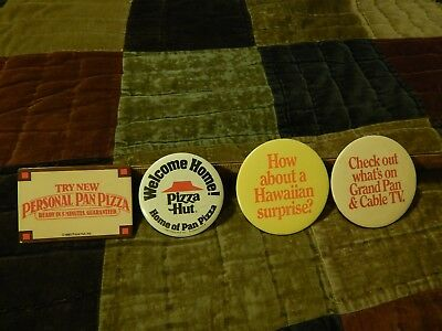 "'80s Pizza Hut ~ LOT of 4 ~ Employee BUTTONS_PINS ~ ""Welcome Home!"" Cable TV Vtg"