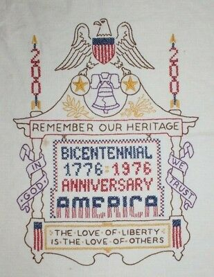 ABC 123 Bicentennial 200 US Anniv Bell Eagle Hand Embroidered Completed Finished