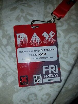 Used Pax East 2018 Friday Souvenir Badge with Red Lanyard Boston Video Games