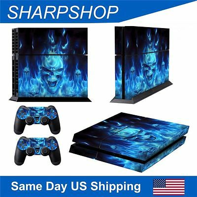 Protect Skin PS4 Gamepad Cover for Playstation 4 Console & Controllers Blue Fire