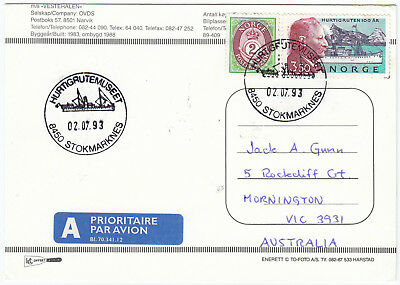 P6024 Norway postcard of and from the Vesteralen, 1993; Hurtigruten stamp