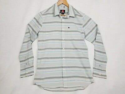 QUICKSILER Mens Grey/Blue Stripe Long Sleeve Collared Shirt Size S